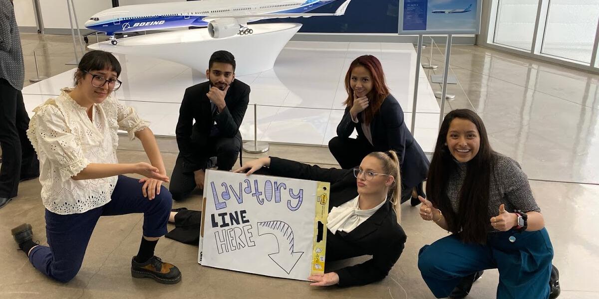 Boeing Innovation Challenge winners, Cosmic Trojaneers. (Left to right) Marissa Renteria, USC Viterbi; Ali Attarwala, University of Texas at Austin; Hannah Sandeen, USC Viterbi; Vy Lee, Purdue University; and Anokhi Kholwadwala, USC Viterbi (Photo/Courtesy of Hannah Sandeen)