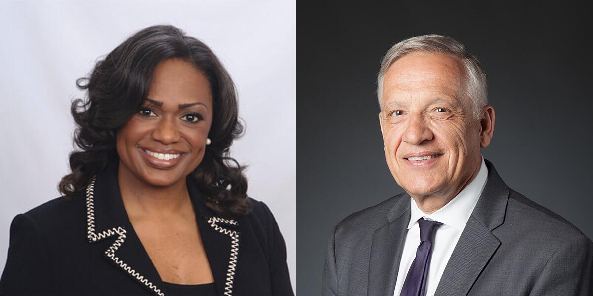 Brandi Jones, vice dean for diversity and strategic initiatives, and Dean Yannis C. Yortsos